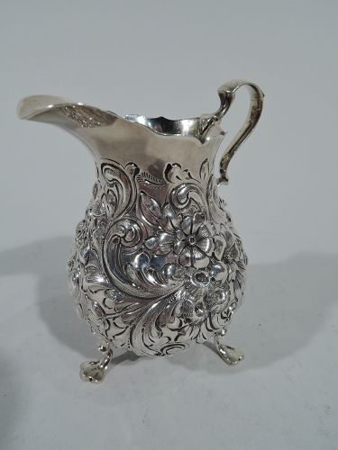 Antique Sterling Silver Repousse Creamer by New York Maker
