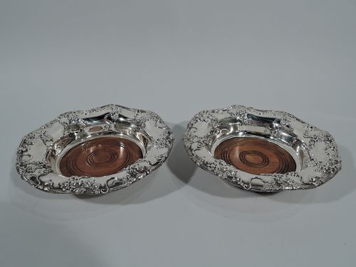 Pair of Antique American Sterling Silver Wine Coasters