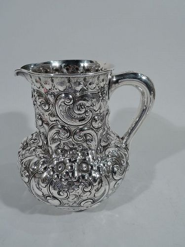 Antique American Repousse Sterling Silver Water Pitcher