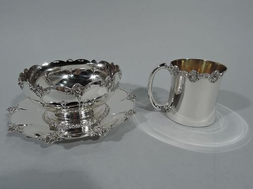 Antique American Sterling Silver 3-Piece Cherub Baby Set by Gorham