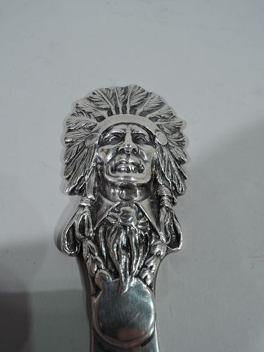 Antique American Sterling Silver Indian Chief Letter Opener C 1900