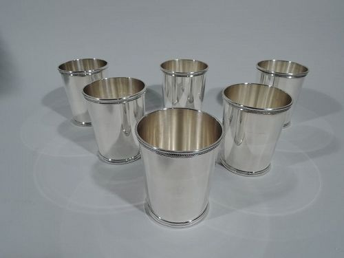 Set of 6 Eisenhower-Era Sterling Silver Mint Julep Cups by Scearce