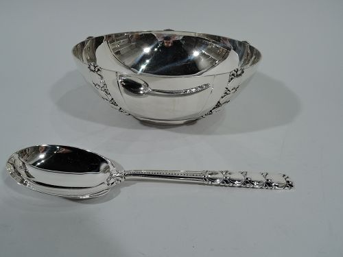 Tiffany Modern Sterling Silver Tomato Serving Bowl with Spoon