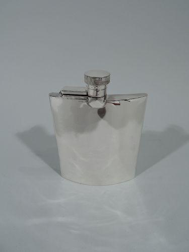 Sleek English Art Deco Modern Sterling Silver Hip Flask 1934