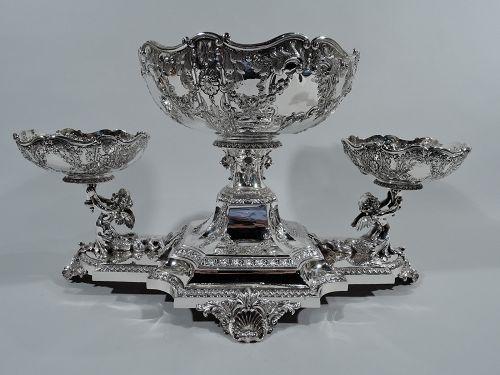 Antique English Regency Revival Sterling Silver 3-Basket Centerpiece