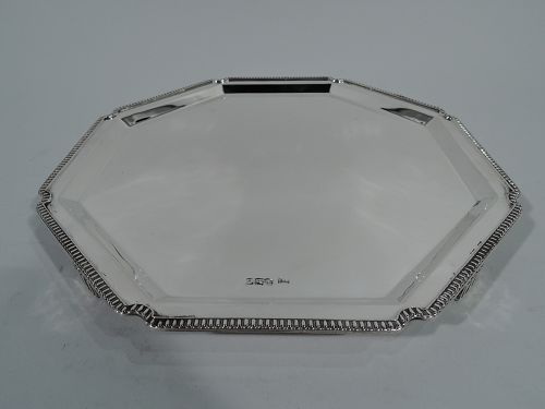 Snazzy English Art Deco Sterling Silver Salver Tray