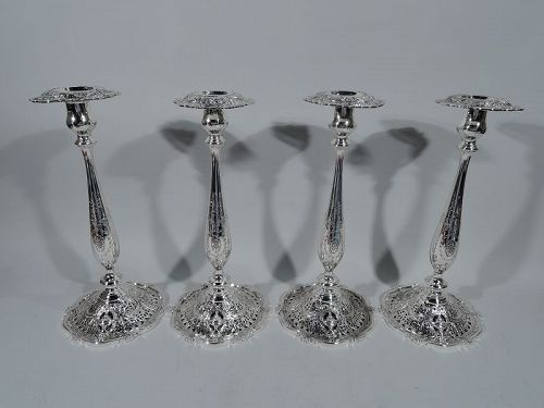 Set of 4 Tall Sumptuous Sterling Silver Candlesticks by Shreve