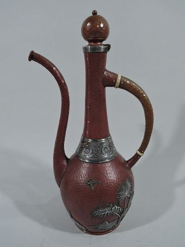 Gorham Mixed Metal Copper and Silver Japonesque Turkish Coffeepot