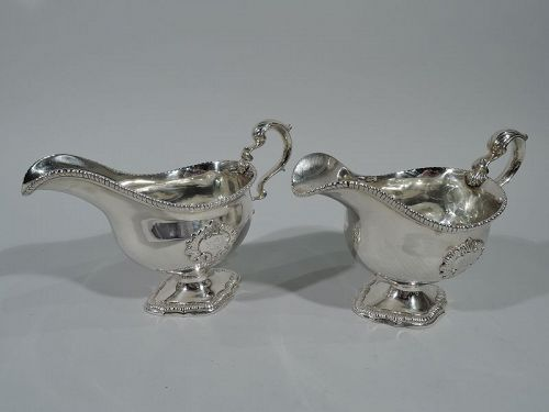 Pair of Antique English Georgian Sterling Silver Gravy Boats 1793