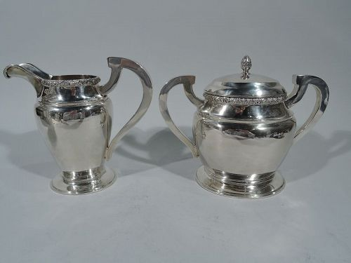 Pair of Large Coin Silver Creamer & Sugar by Seymour Hoyt of New York
