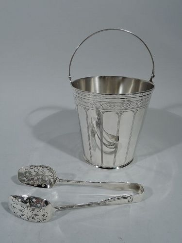 Tiffany American Art Deco Modern Sterling Silver Ice Bucket with Tongs