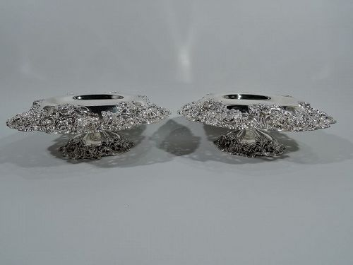 Pair of Large and Fancy Antique American Sterling Silver Compotes