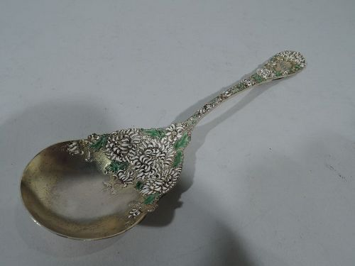 Antique Durgin Chrysanthemum Gilt Sterling Silver & Enamel Berry Spoon