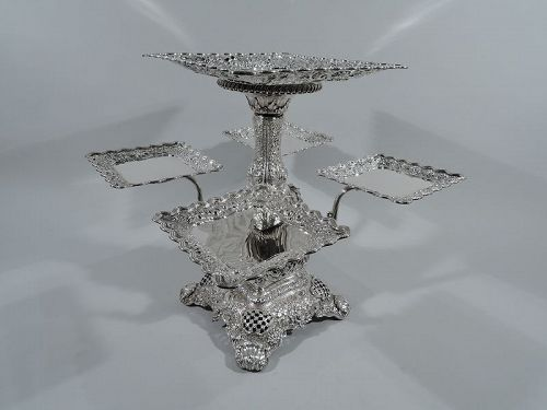 Rare and Striking Tiffany Repousse Sterling Silver Epergne Centerpiece