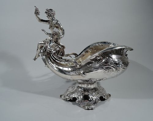 Antique German Sterling Silver Venus & Cupid Centerpiece Bowl C 1904