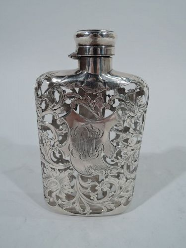 Antique Gorham Silver Overlay Lady�s Flask
