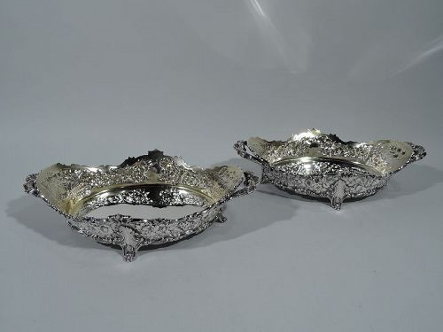 Pair of Antique Repousse Sterling Silver Serving Bowls by Tiffany