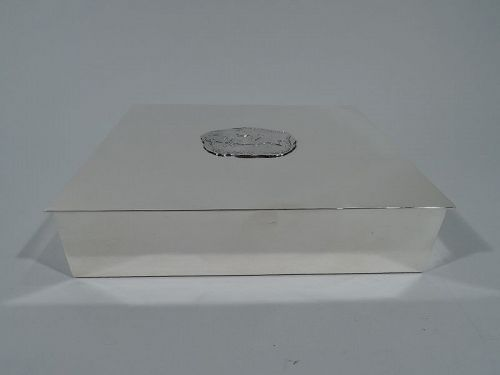 Tiffany American Midcentury Modern Sterling Silver Box with Polo Scene