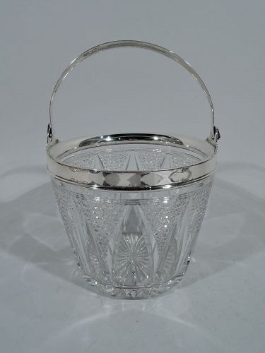 Antique American Cut Glass & Sterling Silver Ice Bucket