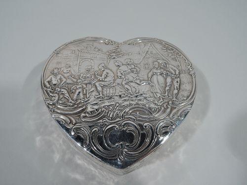 Antique German Sterling Silver Olden Days Heart Box
