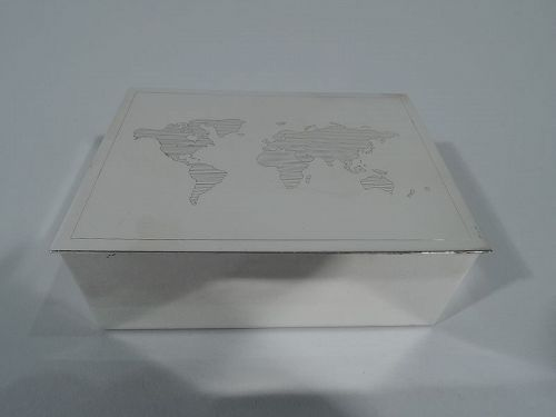 Tiffany Modern Sterling Silver Box with Map of World