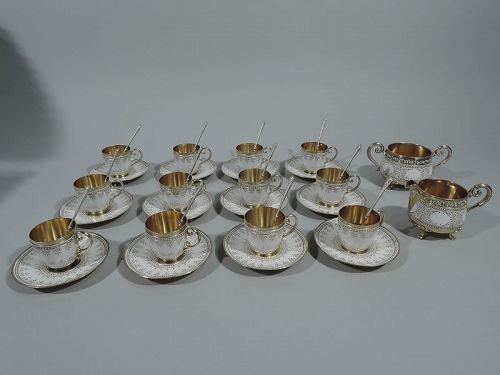Antique Norwegian Silver Gilt & Enamel Demitasse Set for 12