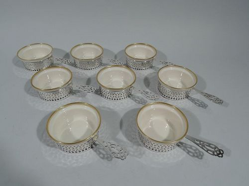 Set of 8 Gorham Art Deco Ramekin Holders with Lenox Liners
