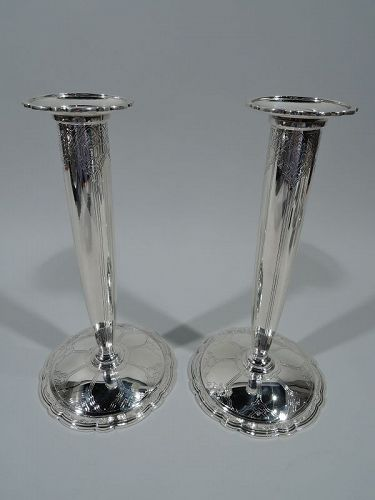 Pair of Tiffany Art Deco Sterling Silver Scalloped Candlesticks