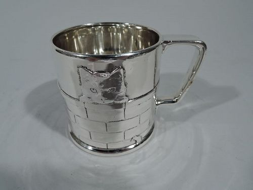 Tiffany Edwardian Sterling Silver Baby Cup with Peekaboo Kitty Cat