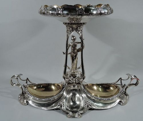 German Art Nouveau Silver Centerpiece with Alluring Jungfrau