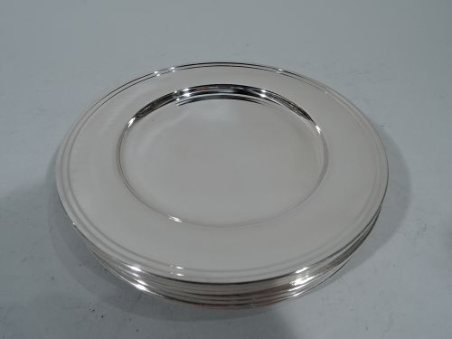 Set of 8 American Modern Sterling Silver Bread & Butter Plates