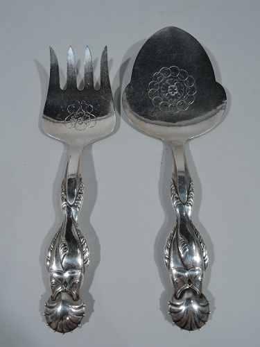 Early Georg Jensen 830 Silver Fish Serving Pair with Slice and Fork