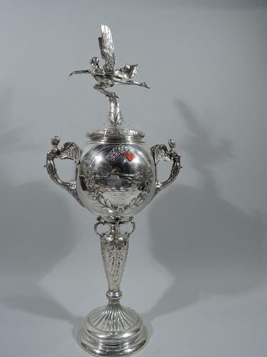 English Art Deco Sterling Silver Hydroplane Motor Boat Trophy Cup 1929
