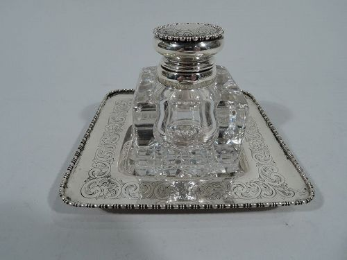 Antique American Edwardian Sterling Silver Inkwell on Stand by Gorham
