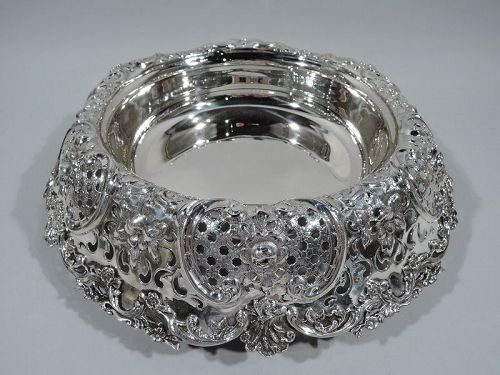 Antique Tiffany Large and Fancy Sterling Silver Centerpiece Bowl