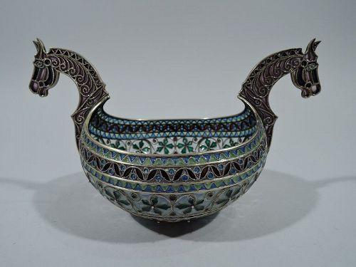 Norwegian Plique à Jour Horse Bowl with Rich Color by Marius Hammer