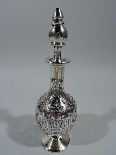 Antique American Art Nouveau Silver Overlay Liqueur Decanter