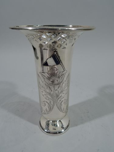 Antique American Edwardian Sterling Silver Vase with Enamel Flags