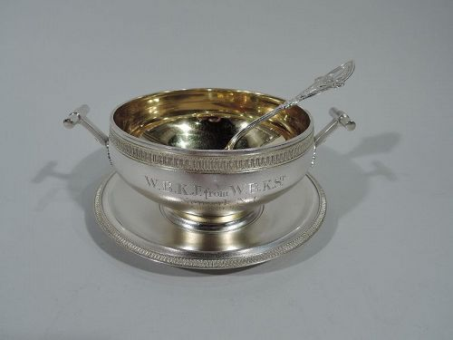 Early Tiffany Greek Revival Sterling Silver Sauce Bowl on Stand