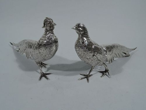 Fine Pair of Antique German Silver Strutting Pheasants
