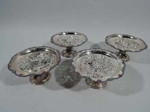 Set of 4 Antique Chinese Silver and Enamel Compotes