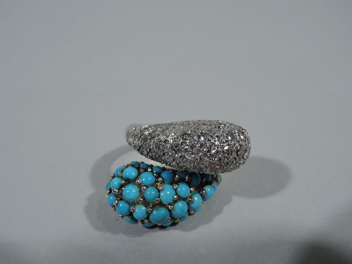 American 14K Gold Crossover Cocktail Ring with Diamonds and Turquoise