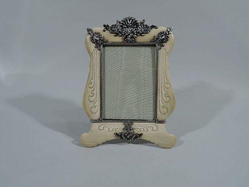 fb7a0f5e5680 Rare Tiffany Art Nouveau Cartouche Frame with Silver Shells   Flowers