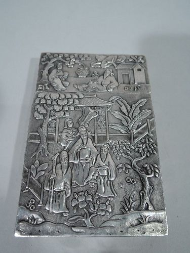 Antique Chinese Silver Card Case with Modish Exotics