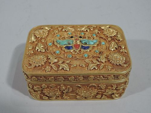 Rare Antique Chinese 22K Gold Box with Semi-Precious Stones