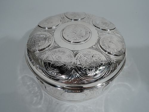 Antique European Silver Keepsake Box with Coins & Medallions
