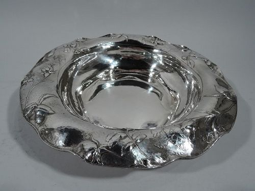 Beautiful Antique Gorham Martele Silver Bowl with Strewn Roses
