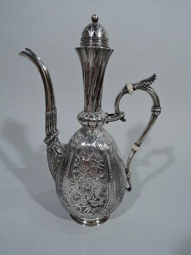 Wonderful Exotic Sterling Silver Turkish Coffeepot by Gorham 1881