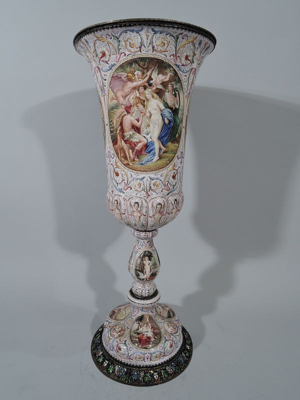 Tall and Beautiful Antique Viennese Enamel & Silver Coverered Cup