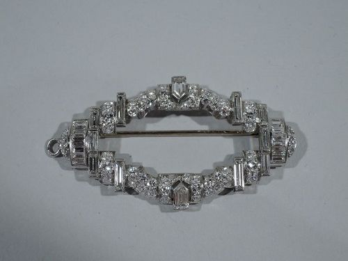 American Art Deco Platinum and Diamond Brooch C 1930